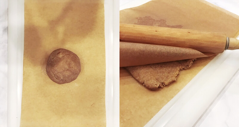 Photo with two images showing a ball of cookie dough and then the cookie dough being flatten between two sheets of parchment paper with a rolling pin