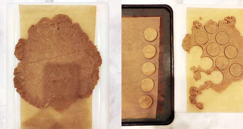 Image of flattened cookie dough on a piece of parchment paper and another image of the cutting out the dough with a circular cookie cutter