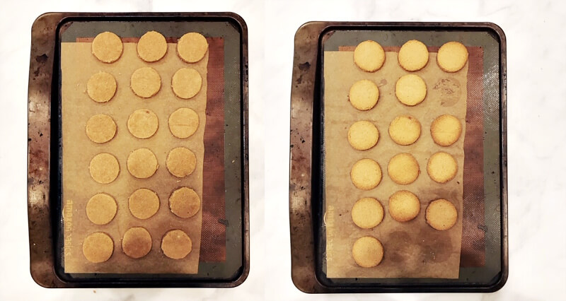 Two images showing cut-out Gluten-Free Vegan Chocolate Covered Pumpkin Spice Cookies on a cookie sheet lined with parchment paper before and after baking