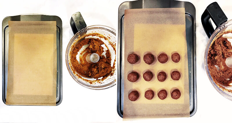 Step-by-step instructions of how to make The BEST Vegan No-Bake Chocolate Covered Pumpkin Truffles showing two images of before and after rolling the mixture into small balls