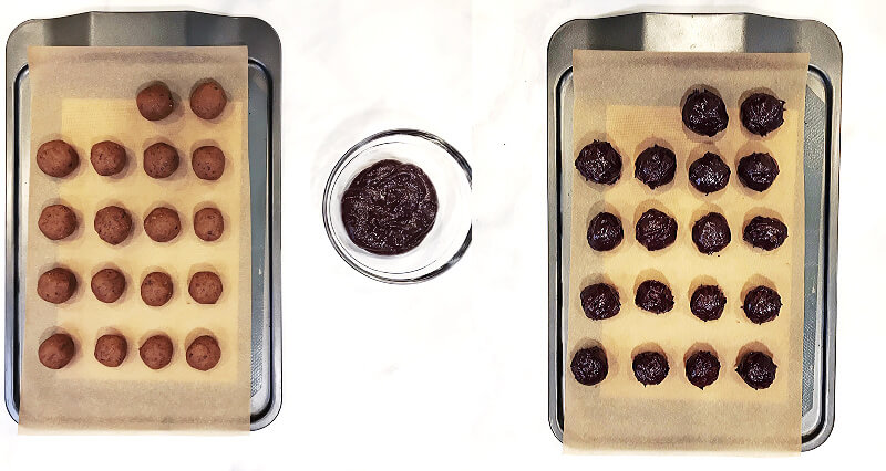 Step-by-step photos of how to make The BEST Vegan No-Bake Chocolate Covered Pumpkin Truffles with two images of before and after dipping the pumpkin balls into a bowl of melted chocolate