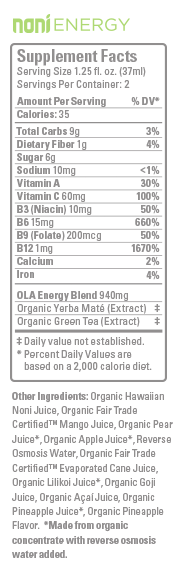 Hawaiian Ola Noni Energy Ingredient List and Review | The Healthy Family and Home