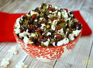 Clean Eating Cacao Drizzle Holiday Popcorn (Vegan, Gluten-Free, Dairy-Free, No Refined Sugar)