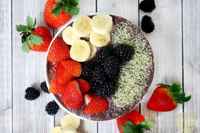 Blueberry Acai Protein Smoothie Bowl (Vegan, Gluten-Free, Dairy-Free, Paleo-Friendly, No Refined Sugars)