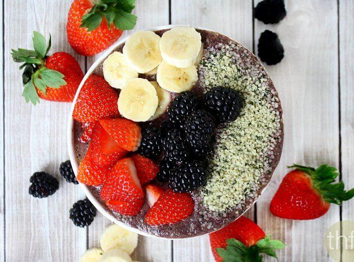 Blueberry Acai Protein Smoothie Bowl