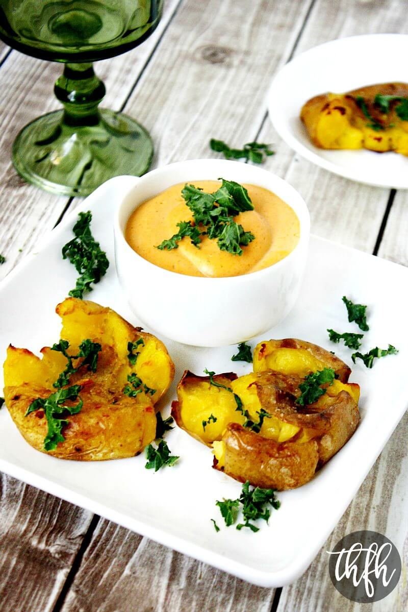 Vegan Roasted Smashed Potatoes with Smoked Paprika Habanero Sauce   The Healthy Family and Home