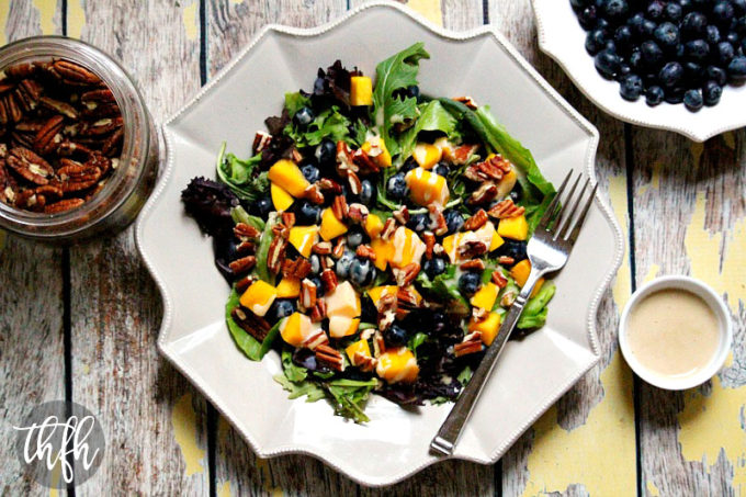 Blueberry Mango Salad with Tahini Ginger Dressing (Raw, Vegan, Gluten-Free, Dairy-Free, Paleo-Friendly, No Refined Sugar)