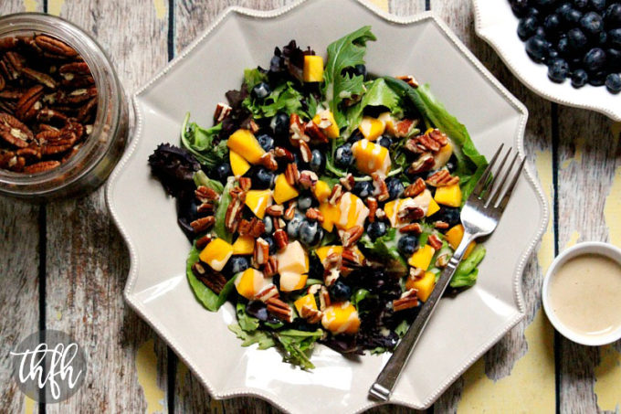 Gluten-Free Vegan Blueberry and Mango Salad with Tahini Ginger Dressing | The Healthy Family and Home