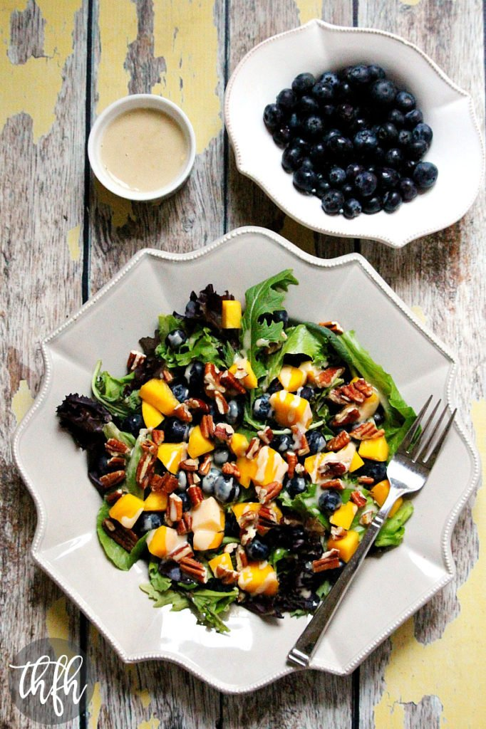 Blueberry Mango Salad with Tahini Ginger Dressing