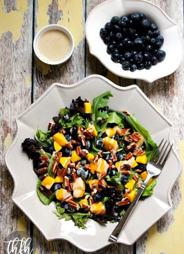 Blueberry Mango Salad with Tahini Ginger Dressing