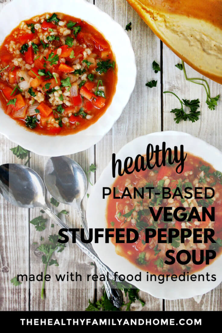 This healthy plant-based Vegan Stuffed Pepper Soup is an easy comfort food recipe to make and it can be made in under 20 minutes using an Instant Pot to prepare the rice and you can even use cauliflower rice to make this recipe paleo-friendly and Medical Medium compliant! { The Healthy Family and Home } #vegan #stuffedpepper #soup #instantpot