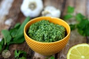 Fresh Herb and Tahini Pesto (Raw, Vegan, Gluten-Free, Dairy-Free, Nut-Free, Paleo-Friendly)