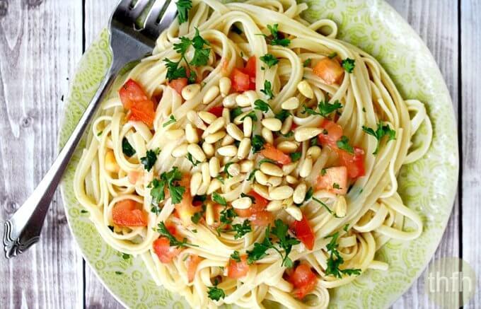 Lemon Garlic Linguine with Tomatoes and Pine Nuts (Vegan, Gluten-Free, Dairy-Free)