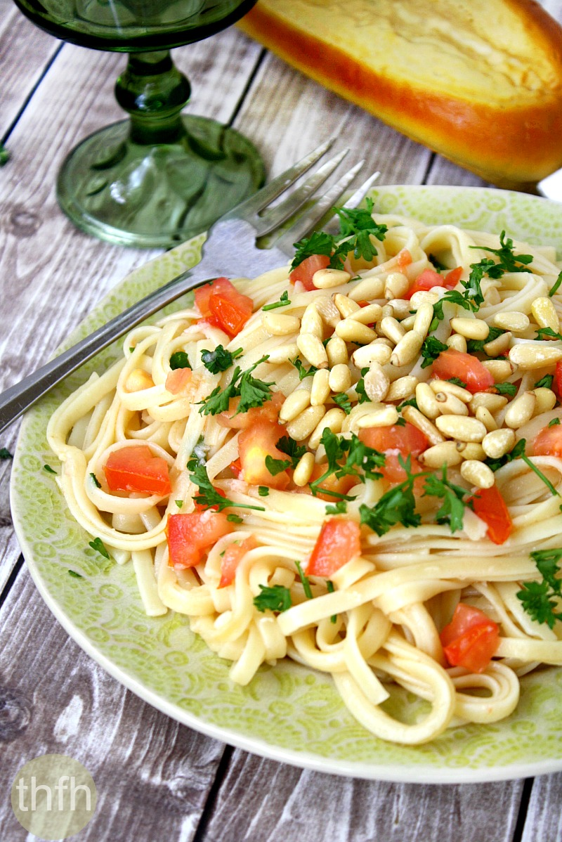 Lemon Garlic Linguine with Tomatoes and Pine Nuts | The Healthy Family and Home