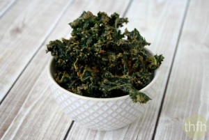 "Kale Chips with Spicy Peanut Sauce (""Almost"" Raw, Vegan, Gluten-Free, Dairy-Free, No Refined Sugar)"
