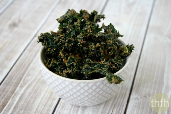 """Kale Chips with Spicy Peanut Sauce (""""Almost"""" Raw, Vegan, Gluten-Free, Dairy-Free, No Refined Sugar)"""