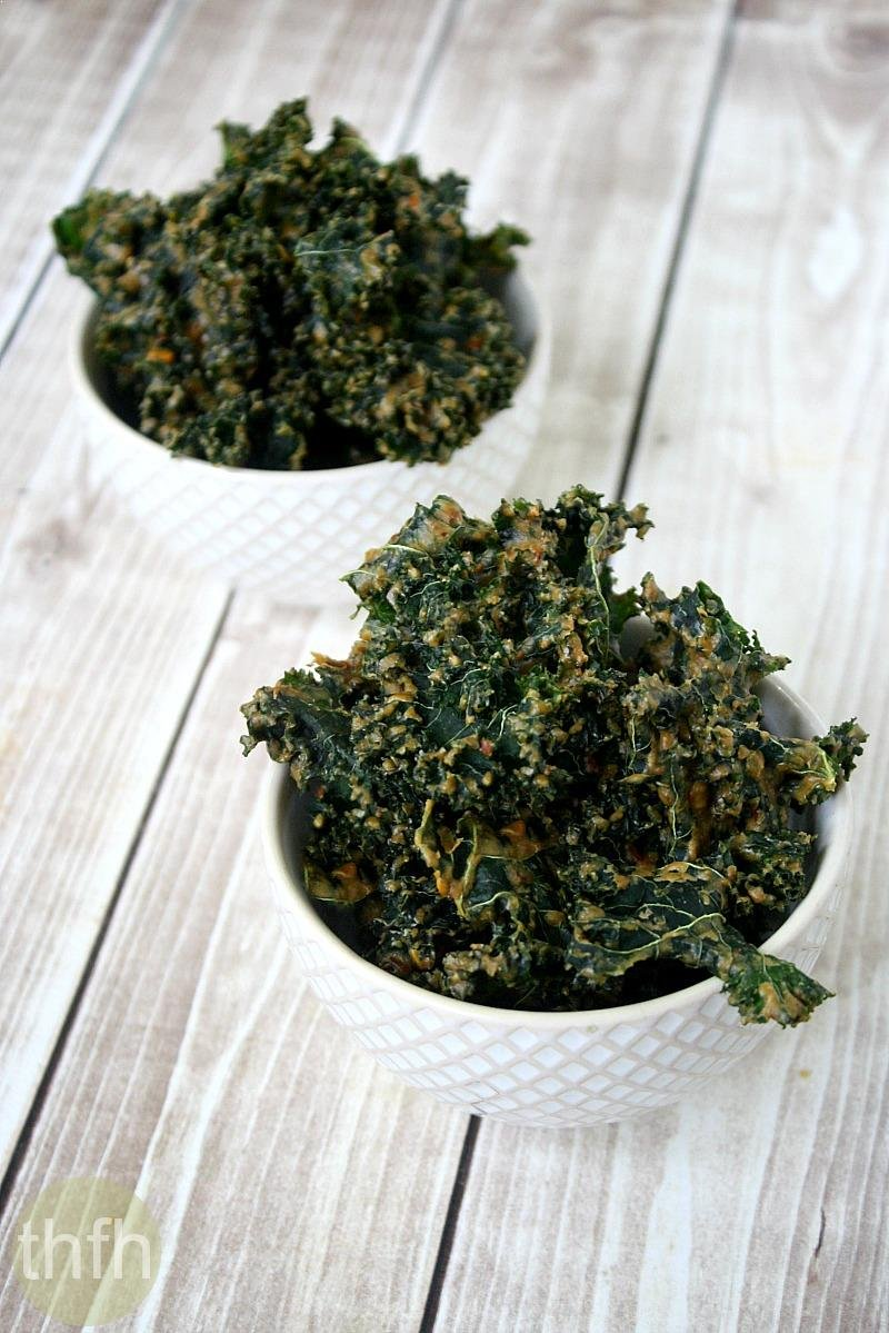 Kale Chips with Spicy Peanut Sauce | The Healthy Family and Home