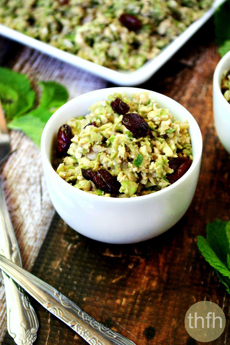Shredded Brussels Sprouts Salad with Cranberries and Maple Tahini Dressing | The Healthy Family and Home