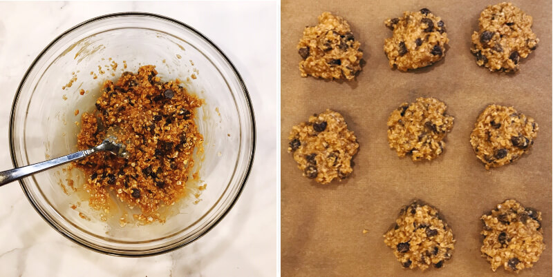Step-by-step instructions of how to make Gluten-Free Vegan Peanut Butter Chocolate Chip Oatmeal Cookies steps 3 and 4