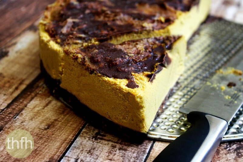Vegan No-Bake Chocolate Marbled Pumpkin Cheesecake