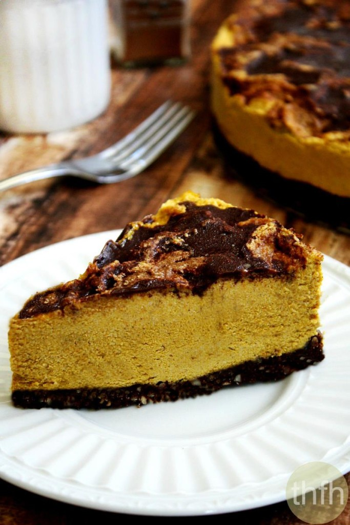 Vegan No Bake Chocolate Marbled Pumpkin Cheesecake The