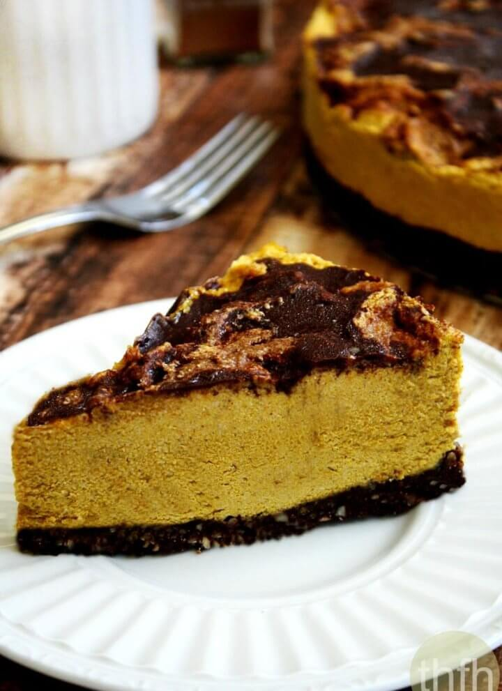 Vegan No-Bake Chocolate Marbled Pumpkin Cheesecake