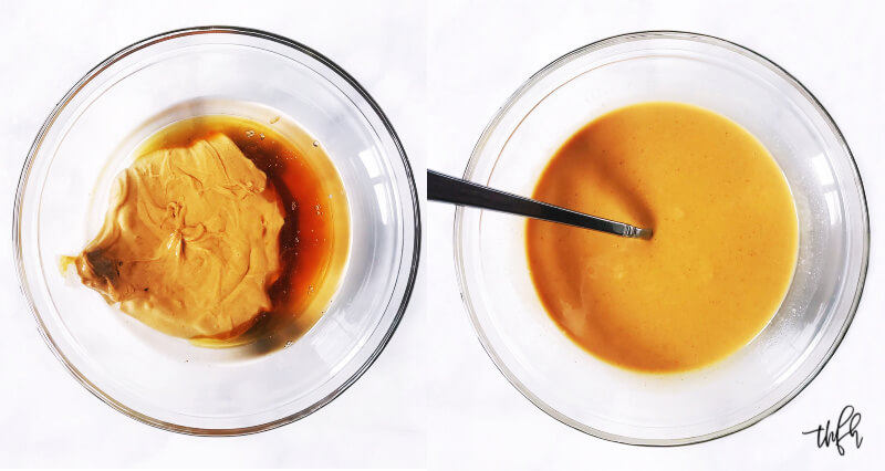 Image of two glass bowls side by side with ingredients to make peanut butter fudge before and after mixing them together