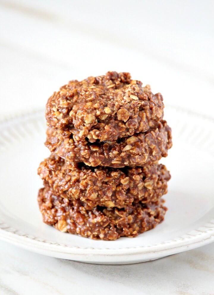 Gluten-Free Vegan Chocolate Peanut Butter Oatmeal No-Bake Cookies