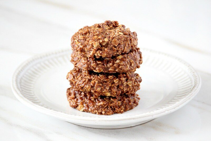 Original Healthy Vegan No Bake Chocolate Peanut Butter Oat Cookies