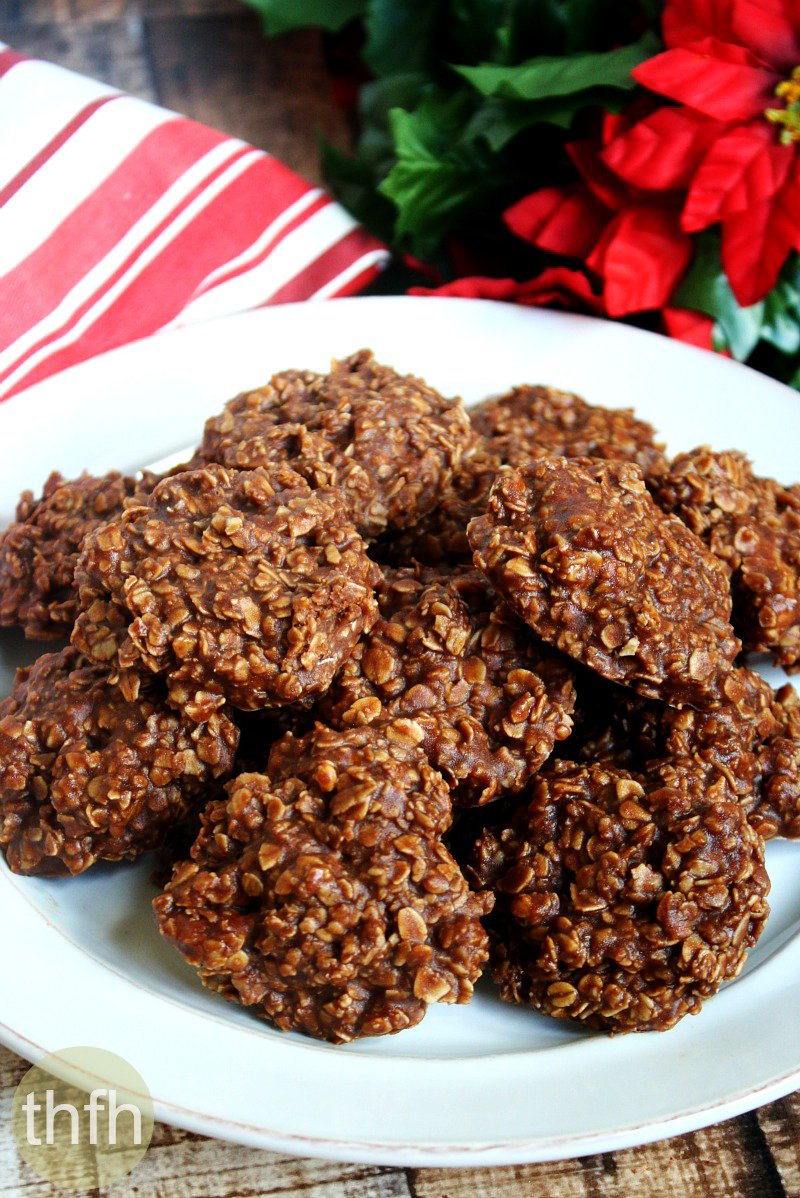 Gluten-Free Vegan Chocolate Peanut Butter Oatmeal No-Bake Cookies on a white plate surrounded by Christmas decorations
