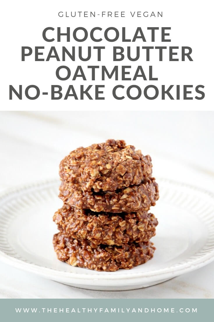 Stack of The ORIGINAL Healthy Gluten-Free Vegan No-Bake Chocolate Peanut Butter Oat Cookies on a white plate on top of a white marble surface with text overlay