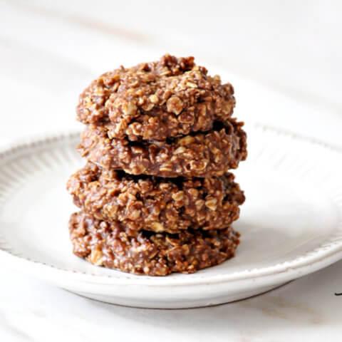Healthy Vegan No Bake Chocolate Peanut Butter Cookies The Healthy