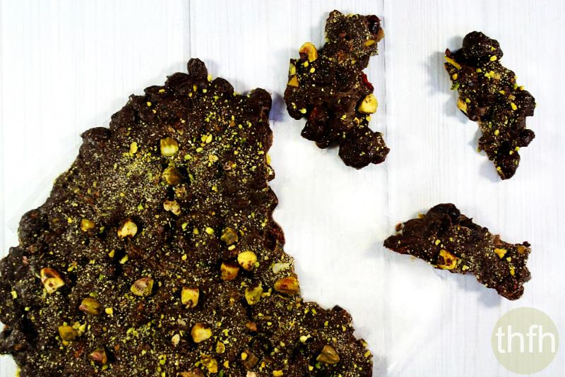 Gluten-Free Vegan Salted Pistachio and Cranberry Chocolate Bark | The Healthy Family and Home