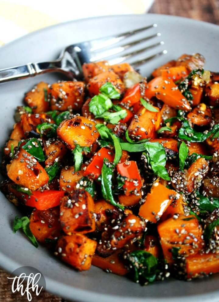 Spicy Red Pepper and Spinach Sweet Potato Hash Browns