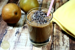 Cacao and Pear Protein Smoothie (Raw, Vegan, Gluten-Free, Dairy-Free, Paleo-Friendly, No Refined Sugar)