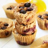 Flourless Vegan Lemon Blueberry Blender Muffins | The Healthy Family and Home