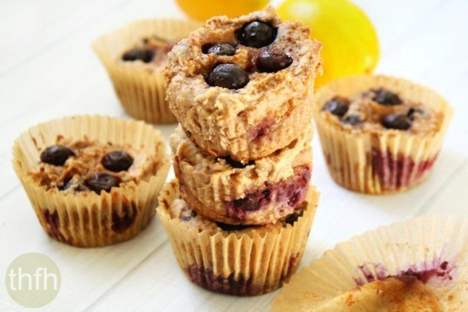 Flourless Vegan Lemon Blueberry Blender Muffins (Vegan, Gluten-Free, Dairy-Free, Egg-Free, Grain-Free, Paleo-Friendly, No Refined Sugar)