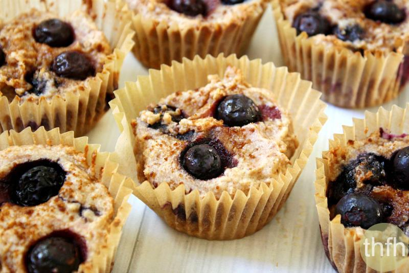 Flourless Vegan Lemon Blueberry Blender Muffins | The Healthy Family and Home
