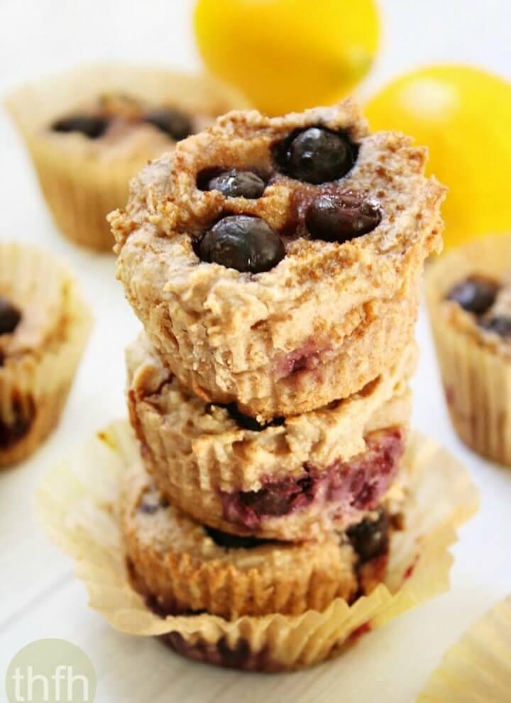Flourless Vegan Lemon Blueberry Blender Muffins