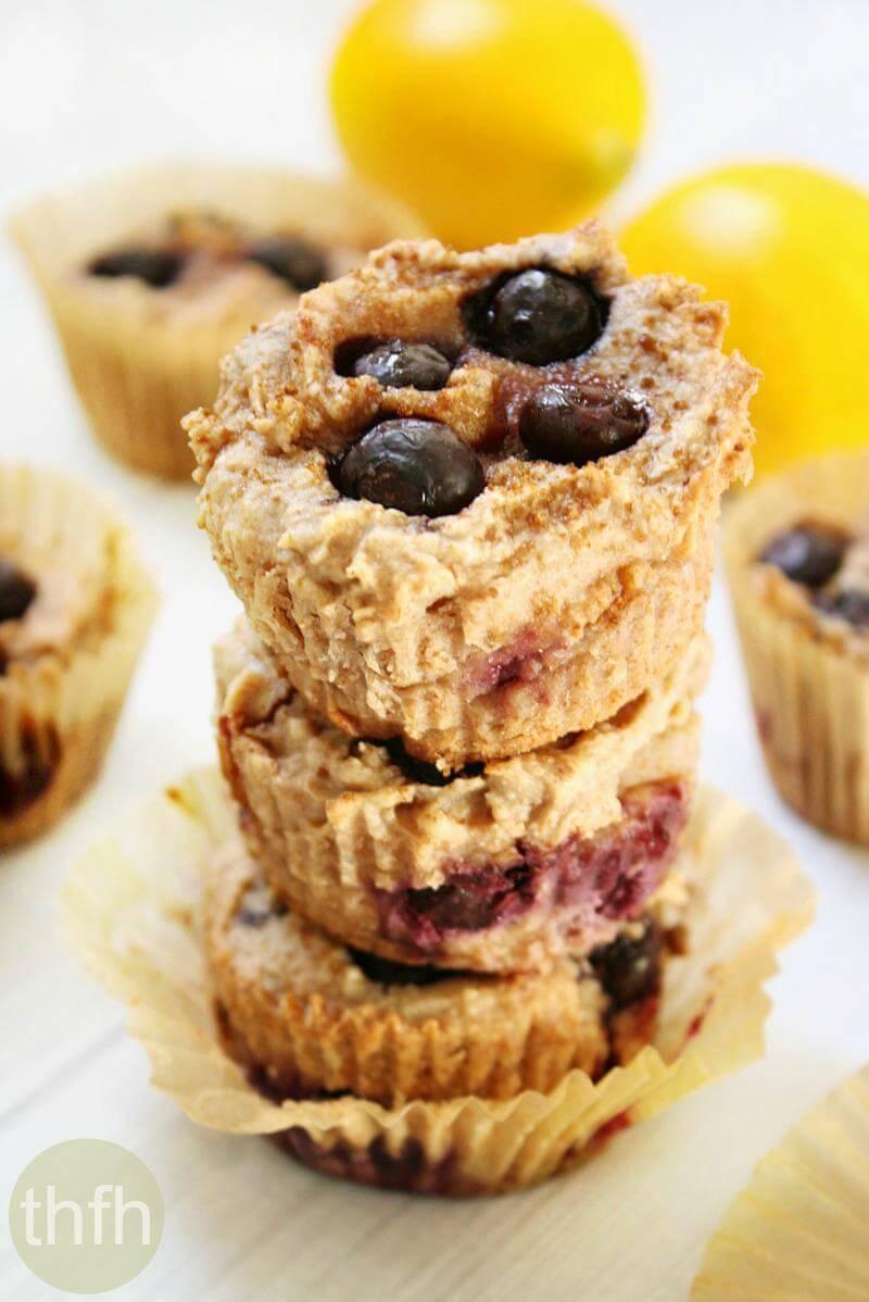 Vegan Lemon Blueberry Blender Muffins | The Healthy Family and Home