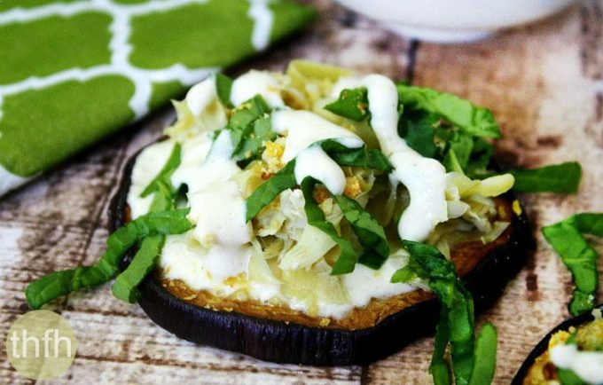 Roasted Eggplant and Artichoke Rounds with Creamy Garlic Sauce (Vegan, Gluten-Free, Dairy-Free, Paleo-Friendly)