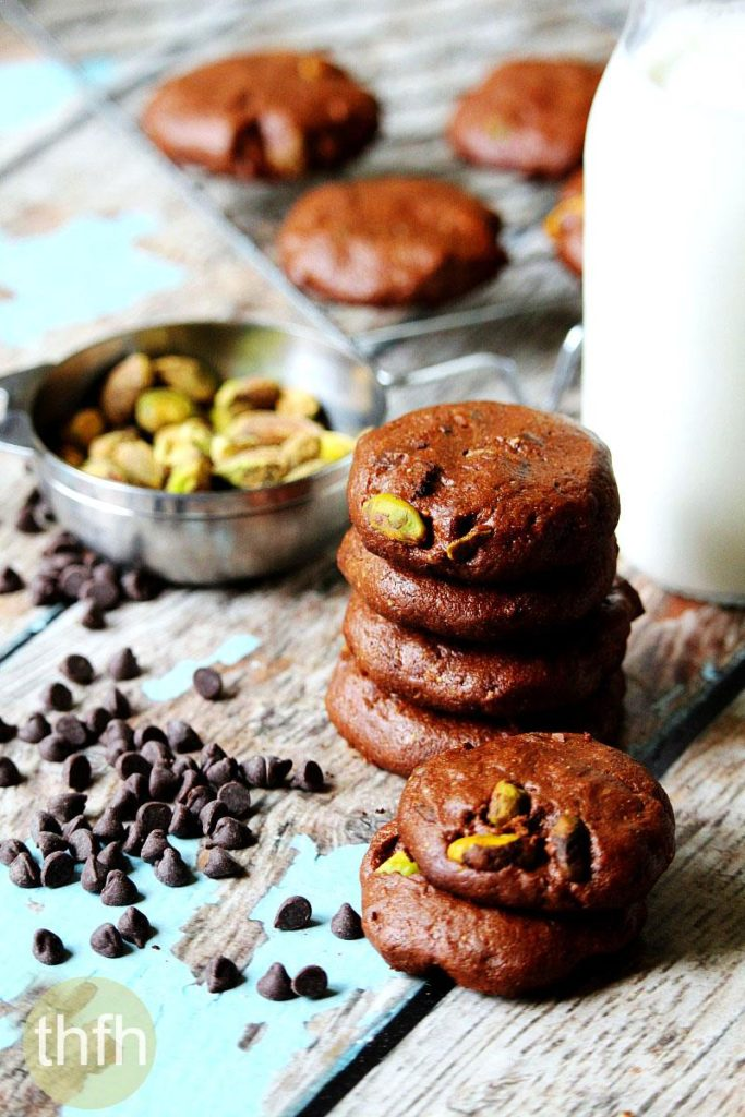 Flourless Vegan Chocolate Pistachio Cookies