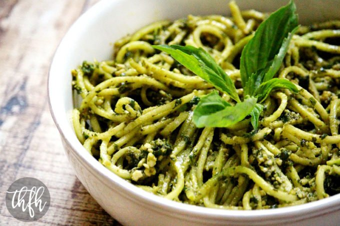 Zucchini Pasta with Vegan Basil Pesto (Raw, Vegan, Gluten-Free, Dairy-Free, Paleo-Friendly)