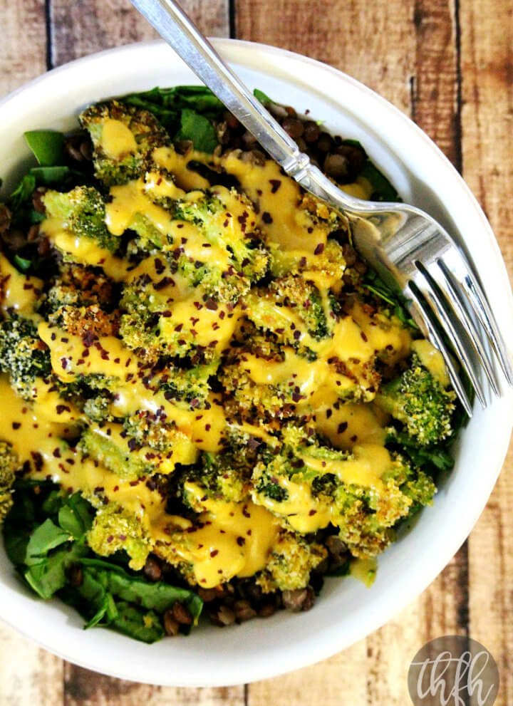 Lentil and Broccoli Bowl with Pumpkin Tahini Dressing