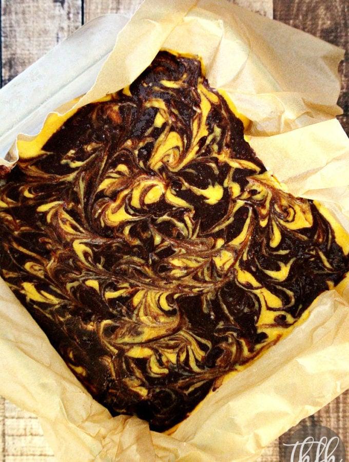 Vegan Chocolate Marbled Swirl Pumpkin Cheesecake Squares