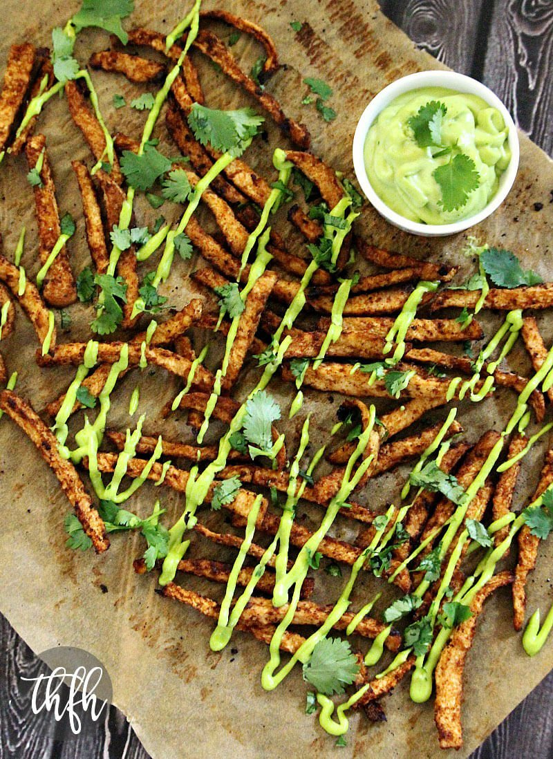Vegan Oven-Baked Chipotle Jicama Fries with Creamy Cilantro Lime Sauce