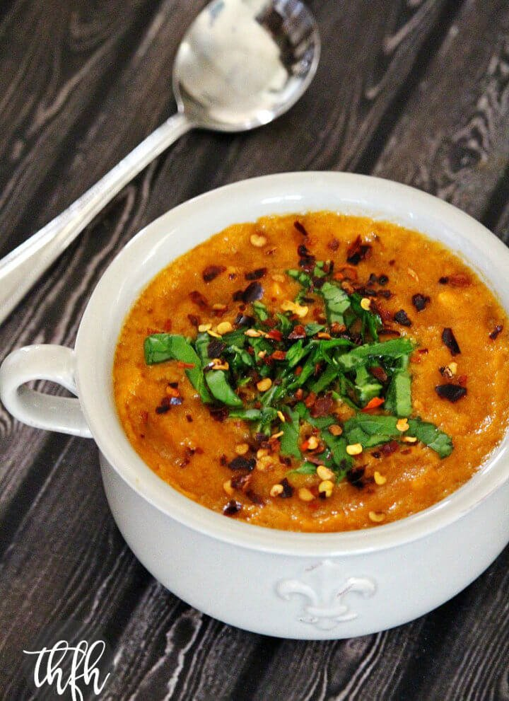 Vegan Spicy Roasted Red Pepper and Garlic Soup