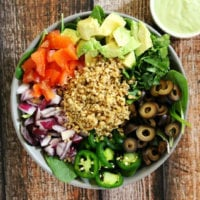 Vegan Taco Salad with Creamy Cilantro and Lime Dressing | The Healthy Family and Home