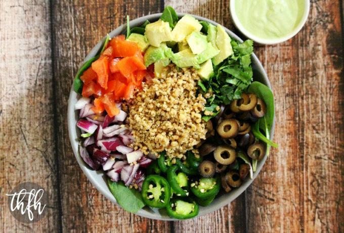 Vegan Taco Salad with Creamy Cilantro Lime Dressing (Raw, Vegan, Gluten-Free, Dairy-Free, Soy-Free, Paleo-Friendly)