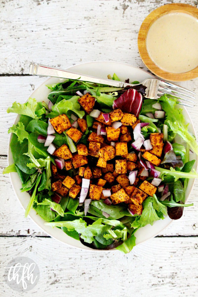 Vegan Roasted Chipotle Sweet Potato Salad with Tahini Lime Dressing